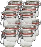 12x Mini weckpot/inmaakpot 100 ml met rode rubberen ring, klepdeksel en beugelsluiting - Kruidenpotjes - Weckpotten - Inmaakpotten - Voorraadbussen