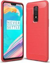 OnePlus 6 - Geborstelde TPU Cover - Rood