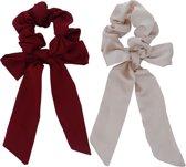 Jessidress Elegante Scrunchies set met lang strikje Haar Elastieken Satijn - Beige/Bordeaux