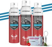 Old Spice Odour Blocker Fresh Deodorant Anti-transpirant Spray - 3 x 150ml Voordeelverpakking + Gratis haarloop