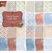 Papierblok 15 x 30 cm, 24 sheets, 12 x 2 designs, berry sweet