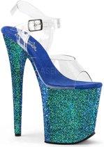 EU 38 = US 8   FLAMINGO-808LG   8 Heel, 4 PF Ankle Strap Sandal w/Holographic Glitter Cov