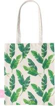 BEACHLANE - Katoenen tasje - Canvas Tote Bag Shopper - Banana leaves / Bananen bladeren print - Schoudertas / Boodschappen tas