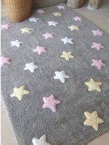 Tricolor Stars Grey - Pink - 100% katoenen vloerkleed