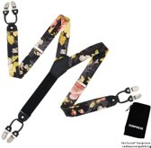 Chique moderne bretels - Zwart gebloemd - Sorprese - zwart leer - 6 stevige clips - heren - unisex