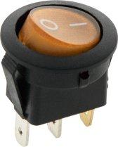 Schakelaar - geel - 12 volt - 35A - verlicht rond - 3 pins