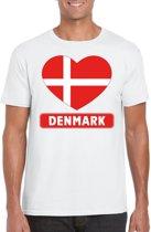 Denemarken t-shirt met Deense vlag in hart wit heren L
