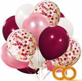 40 st. Verjaardag Burgundy Versiering - Confetti Ballonnen Bruiloft Decoratie - Latex Feest Ballon Set - Roze Feestversiering