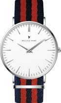 Wallace Hume Klassiek Wit - Horloge - NATO - Blauw/Rood