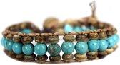 Bela Donaco Armband Bohemian blue B6 – Blauw – Turquoise – Kokos – leer
