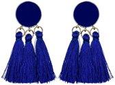 Fako Bijoux® - Oorbellen - Kwast - Boho - Cirkel - Blauw