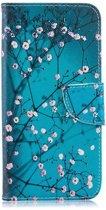 Shop4 - Samsung Galaxy A50 Hoesje - Wallet Case Bloesem Blauw