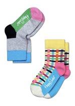 Happy Socks Kids 2-Pack Blocks & Stripes, 7-9 jaar, maat 31-34
