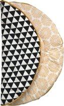 Hannahhave rond boxkleed zwart wit met okergeel, Crazy Yellow , 95 diameter.