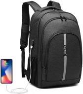 Kono Rugzak - Laptoptas inclusief USB Oplaadstation - 25 L Rugtas voor Mannen/Vrouwen - Tas Met Reflecterende Strip - Waterdichte Backpack - Tas voor School/Werk/Reizen - Zwart (E1972)