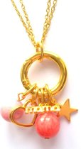 Jewellicious Designs Gold & Pink Mama ketting - kraamcadeau meisje - geboortecadeau - goudkleurig roze