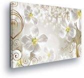 Pattern Floral White Canvas Print 100cm x 75cm