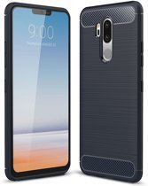 Mobigear Carbon Fiber Brushed Shockproof Hoesje Blauw LG G7 ThinQ