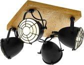EGLO Gatebeck - wand/plafondlamp - 4-lichts - E14 - hout/zwart
