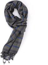Luxe grijs met blauwe viscose sjaal met ruit patroon - Zachte nette shawl voor heren