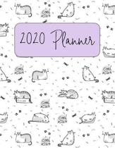 2020 Planner: Monthly & Weekly Planner - Light Purple Cool Cat Cattitude Weekly Agenda - 2 Page Monthly Calendar Spread - Large 8 1/