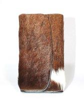 Vacht portemonnee koeienhuid bruin/wit