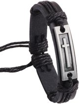 Fako Bijoux® - Armband - Leder - Kruis Rechthoek - Zwart