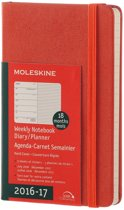 Moleskine agenda 2016 2017 18 Months Planner Weekly Notebook Pocket Coral Orange Hard Cover