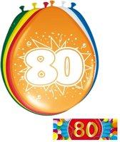 Ballonnen 80 jaar van 30 cm 16 stuks + gratis sticker