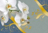 Fotobehang Pattern Flowers Orchids Abstract | XXXL - 416cm x 254cm | 130g/m2 Vlies