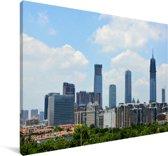 Skyline van de Chinese stad Nanning Canvas 120x80 cm - Foto print op Canvas schilderij (Wanddecoratie woonkamer / slaapkamer) / Aziatische steden Canvas Schilderijen