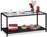 relaxdays salontafel - koffietafel - metalen frame - glasplaat - glastafel - zwart