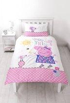 Peppa Pig Happy - Dekbedovertrek - Eenpersoons - 135 x 200 cm - Multi