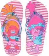 Trolls teenslippers roze gestreept voor meisjes 33/34 (7-10 jaar)