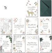 Wenskaartenset - 9 Populaire Kaarten - 12.5 x 17.5 cm - Verjaardag, Geboorte, Felicitatie, Liefde, Zomaar, Beterschap, Succes, Steun, Zus