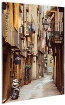 Smalle straat in Barcelona Glas 80x120 cm - Foto print op Glas (Plexiglas wanddecoratie)
