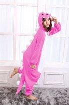 KIMU Onesie roze draak pak kostuum krokodil dino - maat S-M - drakenpak jumpsuit huispak festival