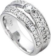 Diamonfire - Zilveren ring met steen Maat 18.5 - 3 banden met railzetting