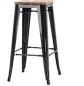 Legend café barkruk - Met houten zitting – Hoog 77 cm - Zwart