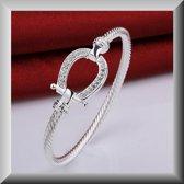 Elegante bangle armband,met paarden hoefijzer en strass