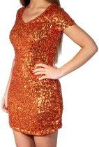 Oranje glitter pailletten disco jurkje dames - Oranje Koningsdag/ Holland supporter kleding S/M (36-40)