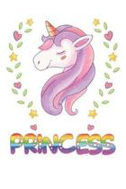 Princess: Princess Notebook Journal 6x9 Personalized Gift For Princess Unicorn Rainbow Colors Lined Paper