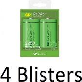 8 Stuk (4 Blisters a 2 st) GP ReCyko D Oplaadbaare batterijen