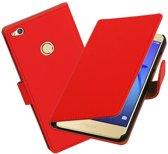 BestCases.nl Rood Effen booktype wallet cover hoesje voor Huawei P8 Lite 2017 / P9 Lite 2017