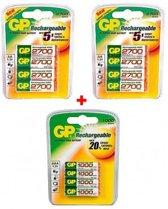 12 stuks GP oplaadbare batterijen, waarvan 2x 4blister NH06 (AA) 2700 mAh + 1x4 blister AAA 1000 mAh.AAA, HR03, micro.