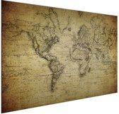 Historische wereldkaart op aluminium vintage 90x60 cm | Wereldkaart Wanddecoratie Aluminium