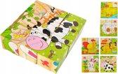 3D Houten Blokken Activiteiten Kubus Puzzel Spel - Dieren Breinbreker Speelblokken - Kinderpuzzel