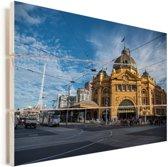 Het spoorwegknooppunt van Melbourne in Australië Vurenhout met planken 120x80 cm - Foto print op Hout (Wanddecoratie)