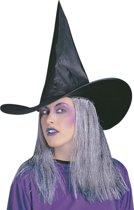 Zwarte heksen hoed met grijze haren Halloween - Verkleedhoofddeksel