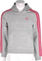 adidas Young Girls Essential Hood - Sporttrui - Kinderen - Maat 176 - Melange Grijs;Donker Roze